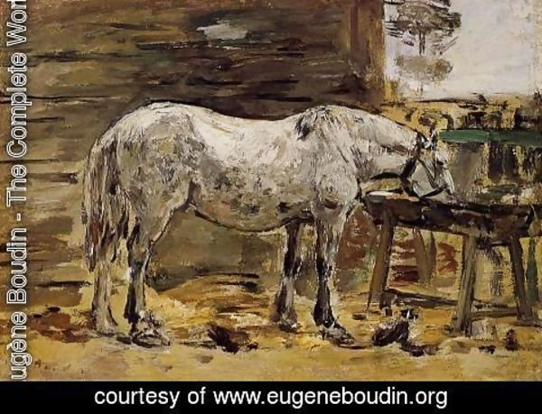 Eugène Boudin - A Horse Drinking, c.1885-90