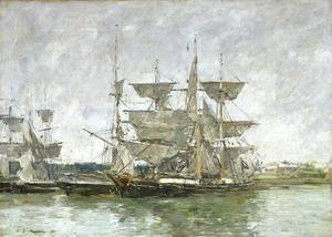 Eugène Boudin - Boats in the Port, Deauville, 1881