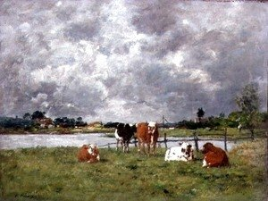 Eugène Boudin - Cows in a Field under a Stormy Sky, 1877