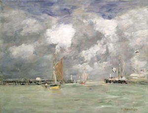 Eugène Boudin - High Tide at Trouville c.1892-96