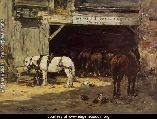 Horses for Hire in a Yard c.1885-90
