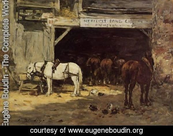 Eugène Boudin - Horses for Hire in a Yard c.1885-90