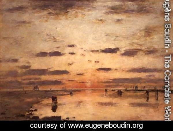 Eugène Boudin - Low Tide and Sunset 1885