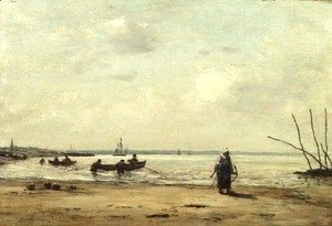 Eugène Boudin - Low Tide Near Honfleur c.1864-66