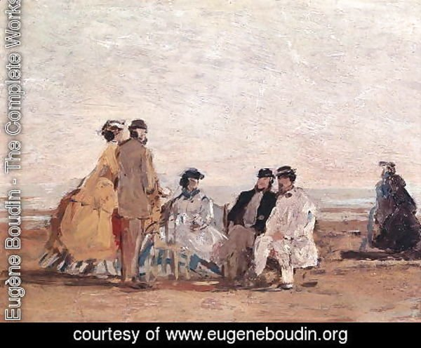 Eugène Boudin - On the Beach at Trouville c.1865