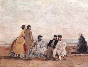 On the Beach at Trouville c.1865