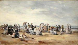 Eugène Boudin - The Beach at Trouville 1873