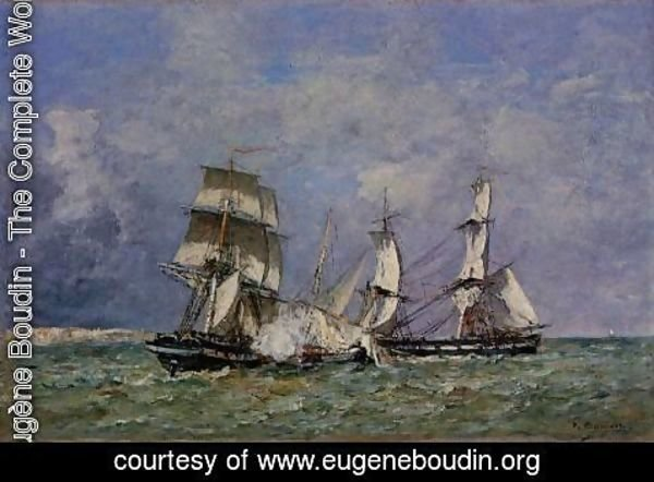 Eugène Boudin - The Capture of the 'Petit Rodeur' 1878