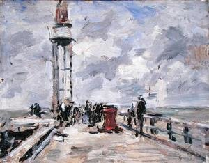 Eugène Boudin - The Jetty and Lighthouse at Honfleur c.1885-90