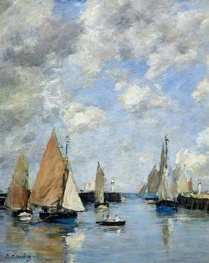 Eugène Boudin - The Jetty at High Tide, Trouville