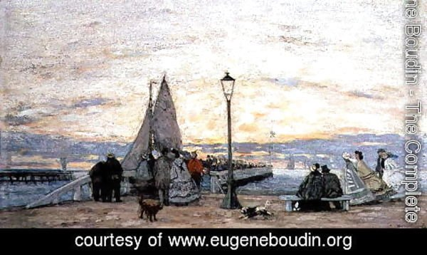 Eugène Boudin - The Jetty at Trouville- Sunset 1864