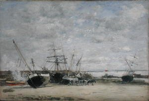 Eugène Boudin - Vessels and Horses on the Shoreline