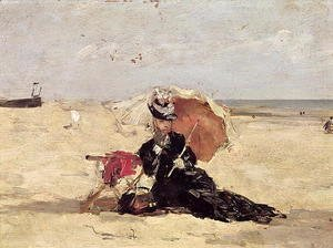 Eugène Boudin - Woman with a Parasol on the Beach 1880