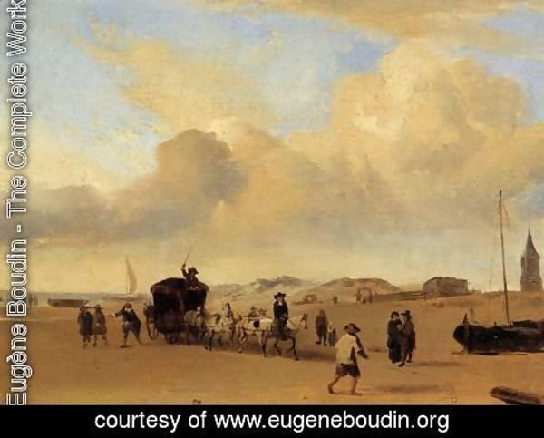 Eugène Boudin - The Beach at Scheveningen (after Adriaen van de Valde)