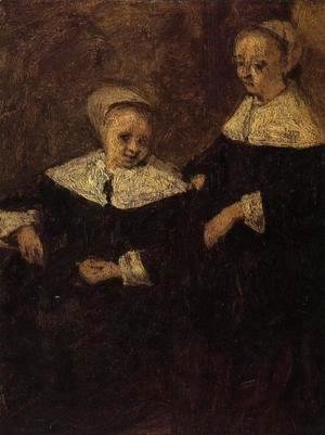 Eugène Boudin - Two Woman (after Adriaen van Ostade)