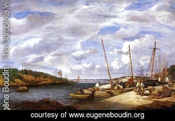 Eugène Boudin - Douarnenez, Fishing Boats at Dockside
