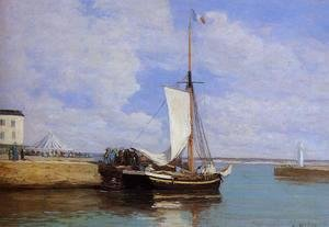 Eugène Boudin - Honfleur, the Port, Docked Sailboat