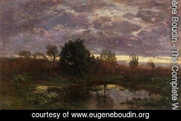 Eugène Boudin - Pond at Sunset