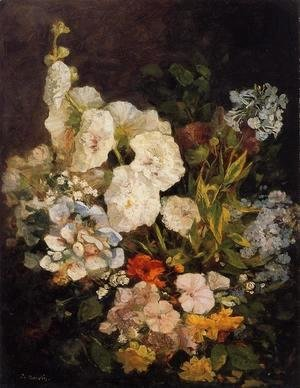 Eugène Boudin - Spray of Flowers - Hollyhocks