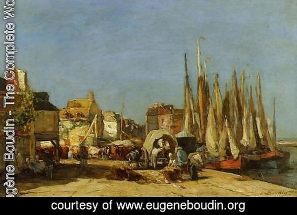 Eugène Boudin - Honfleur, the Quarantine Dock and the Cattle Market