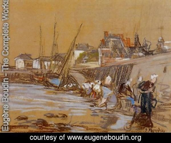 Eugène Boudin - Laundresses in the Port of Honfleur