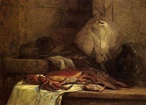 Eugène Boudin - Crab, Lobster and Fish