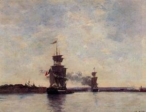 Eugène Boudin - Sailing Ships Entering Port