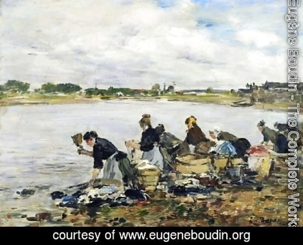 Eugène Boudin - Laundresses on the Banks of the Touques