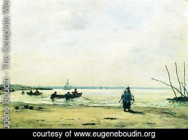 Eugène Boudin - The Shore at Low Tide near Honfleur