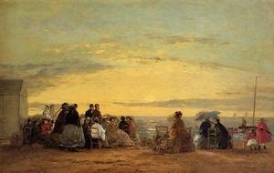 Eugène Boudin - On the Beach, Sunset