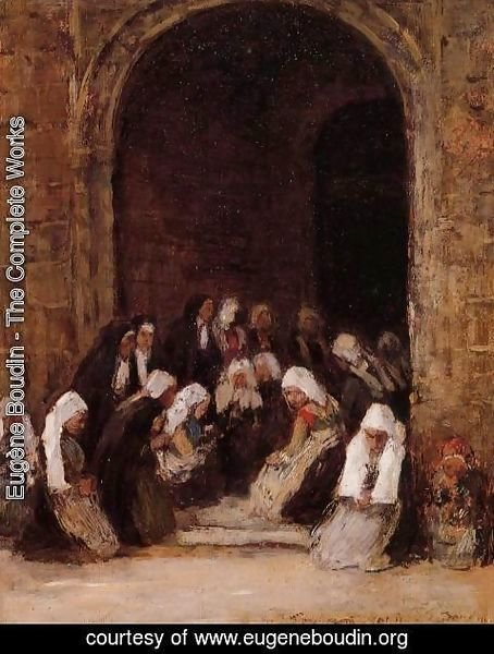 Eugène Boudin - Leaving Mass in Brittany