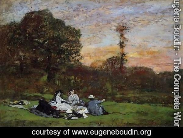 Eugène Boudin - Luncheon on the Grass, the Family of Eugene Manet