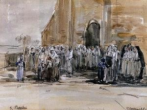 Eugène Boudin - Exiting from Mass at Plougastel