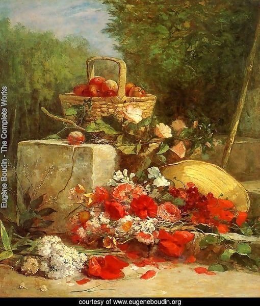 Flowers and Fruit in a Garden