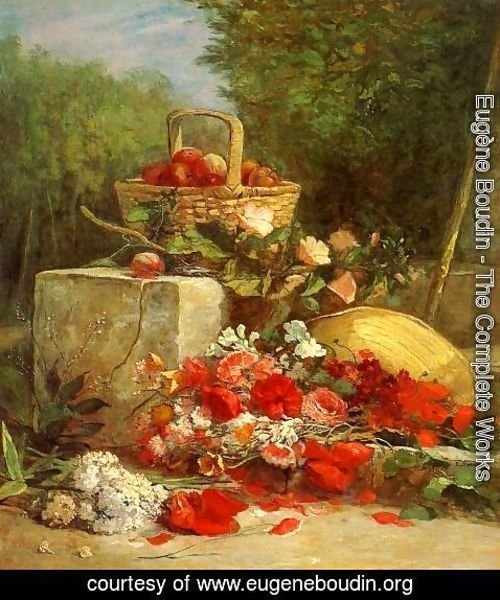 Eugène Boudin - Flowers and Fruit in a Garden