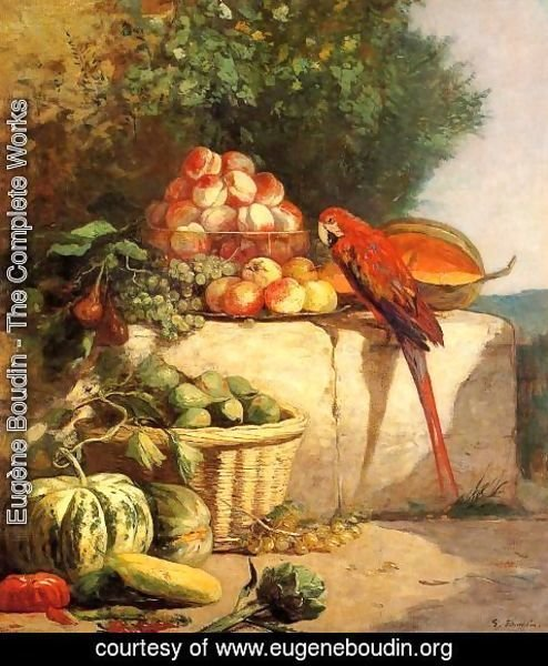 Eugène Boudin - Fruit and Vegetables with a Parrot