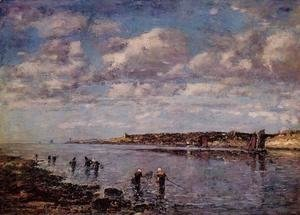 Eugène Boudin - Women Fishing for Shrimp at Kerhor