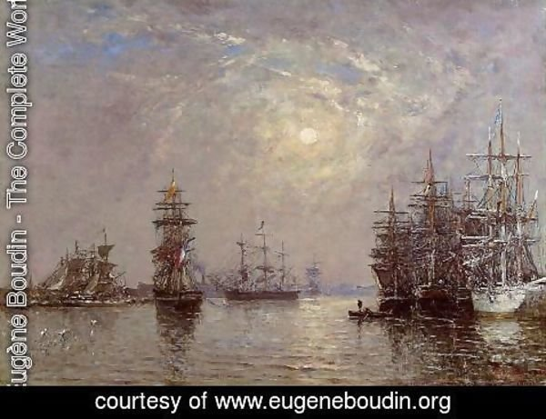 Eugène Boudin - Le Havre: European Basin, Sailing Ships at Anchor, Sunset