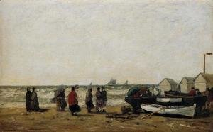 Eugène Boudin - Women on the Beach, Rough Seas