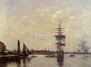 Eugène Boudin - Sailing Boats at Quay