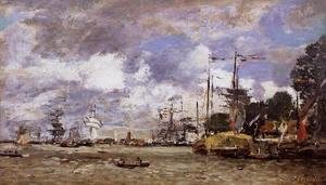 Eugène Boudin - Anvers, Boats on the River Scheldt
