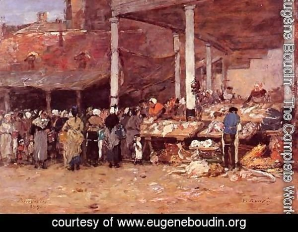 Eugène Boudin - Brussels - the Old Fish Market