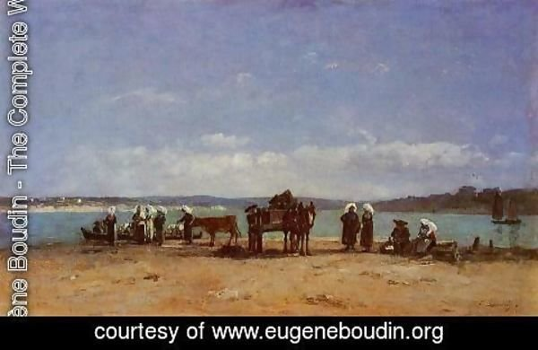 Eugène Boudin - Brittany, Fishermen's Wives on the Shore