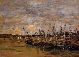 Eugène Boudin - Portrieux, Fishing Boats at Low Tide
