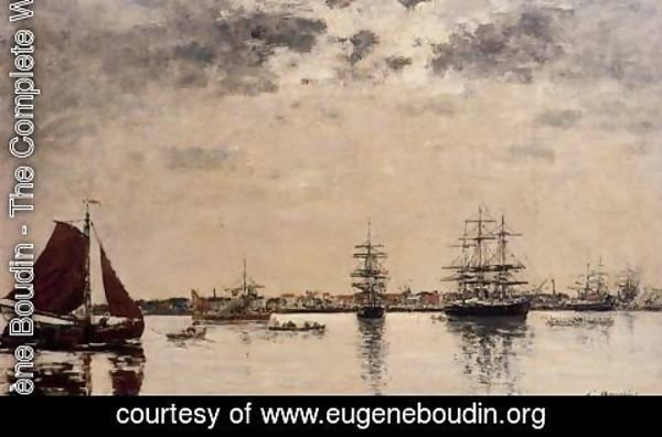 Eugène Boudin - Anvers, boats on the River Scheldt I