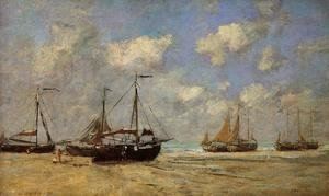 Eugène Boudin - Scheveningen, Boats Aground on the Shore