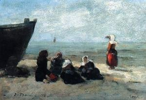Eugène Boudin - Fisherwives Waiting for the Boats to Return