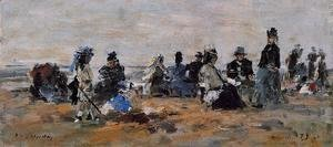 Eugène Boudin - Beach Scene at Trouville, Evening