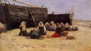Eugène Boudin - Fishwomen Seated on the Beach at Berck
