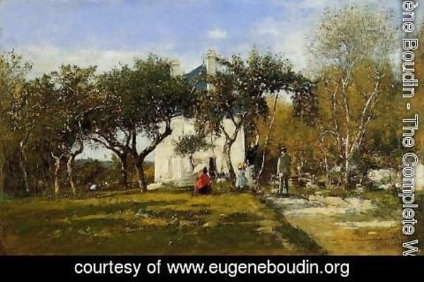 Eugène Boudin - Fervaques, Garden and House of Monsieur Jacuette